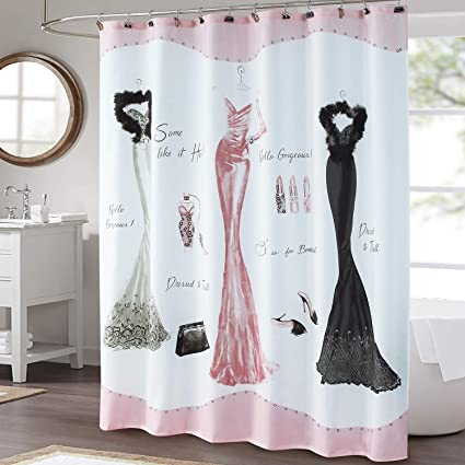 ds bath haute pink shower curtainmildew resistant shower curtainprint shower curtains for - Cute Shower Curtains