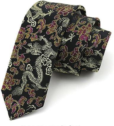 HXCMAN 7cm negro amarillo dorado dragón chino estrecha corbata ...