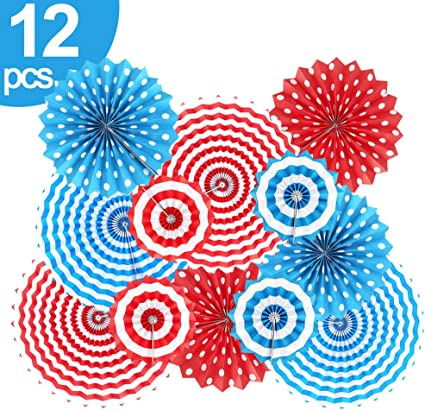 9th of July Decorations Patriotic Hanging Paper Fans - 9Pcs Fourth of July  Decorations Red White and Blue Decorations for Party Veterans Gathering
