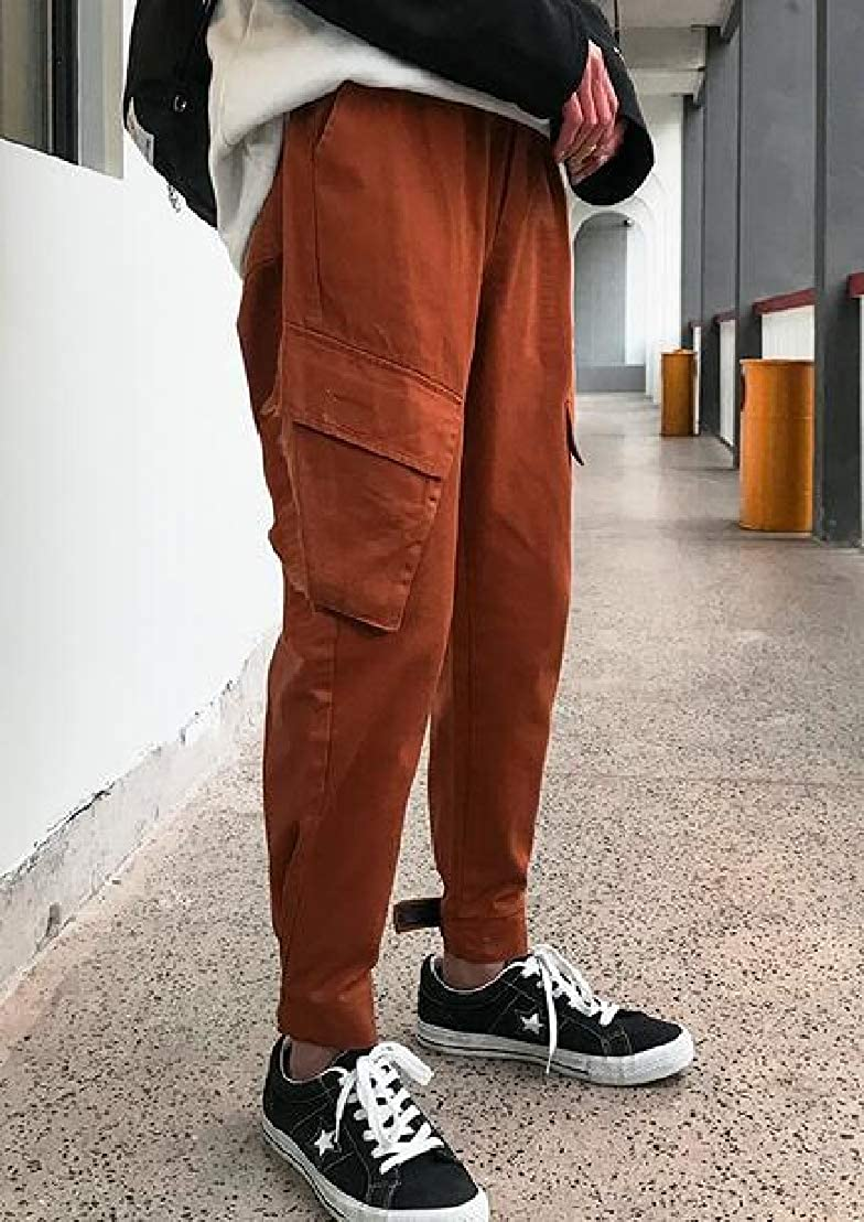GRMO Men Close Bottom Wild Loose Fit Pockets Wash Leisure Vintage Trousers