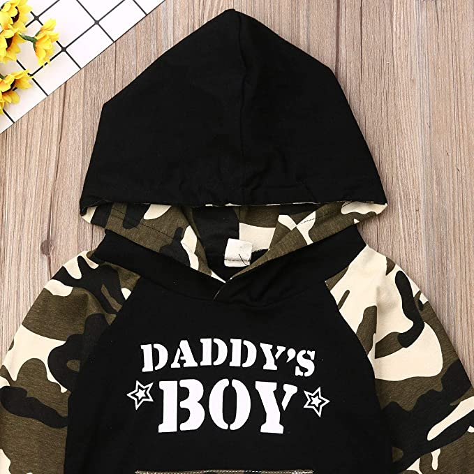 Tabpole Newborn Baby Boy Camouflage Daddys Boy Outfits Long Sleeve Hoodie Shirt Pants Set