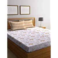 Bombay Dyeing-Elixir Cotton Double Bedsheet with 2 Pillow Covers (2.54 x 2.24 m, Ochre)