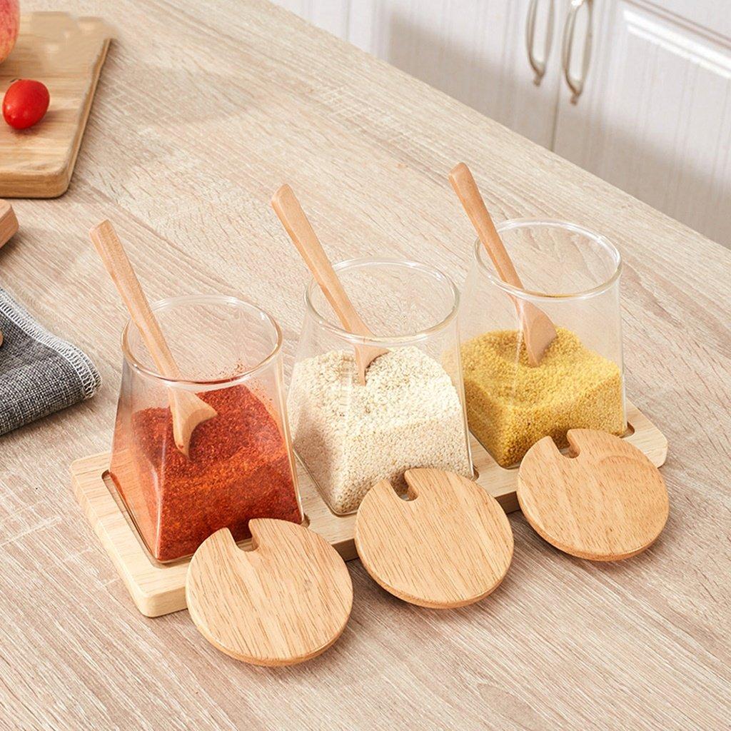 ZFDM Glass Creative Seasoning Seasoning Box Home Seasoning Seasoning Tank Kitchen Salt Tank Hole Cover Set