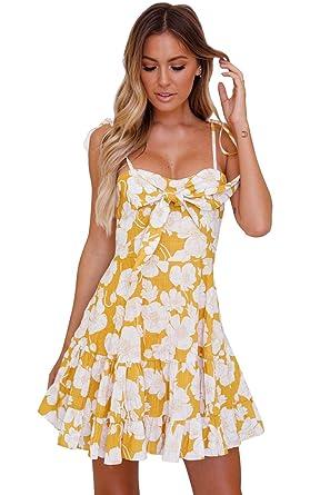 fecee84027f3 Boldgal Women's Western Wear Sleeveless Short Tassel Print Dress Small  Yellow