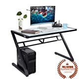 "Tempered White Glass Computer Desk with Z-frame Metal Frame for Home and Office, L 47.3"" / W 23.6"" / H 29.5"" / 48 lb"