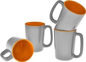 Culver SLAT Mug, 16-Ounce, Grey Orange, Set of 4