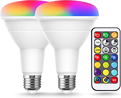 Amazon Com Jandcase Br30 Color Changing Lights Rgb Warm Cool White Flood Light Bulb 12w Dimmable 100w Equivalent 1050lm Remote Control Multi Color Led Light For Recessed Lighting Ceiling E26 Base 2 Pack Home Improvement