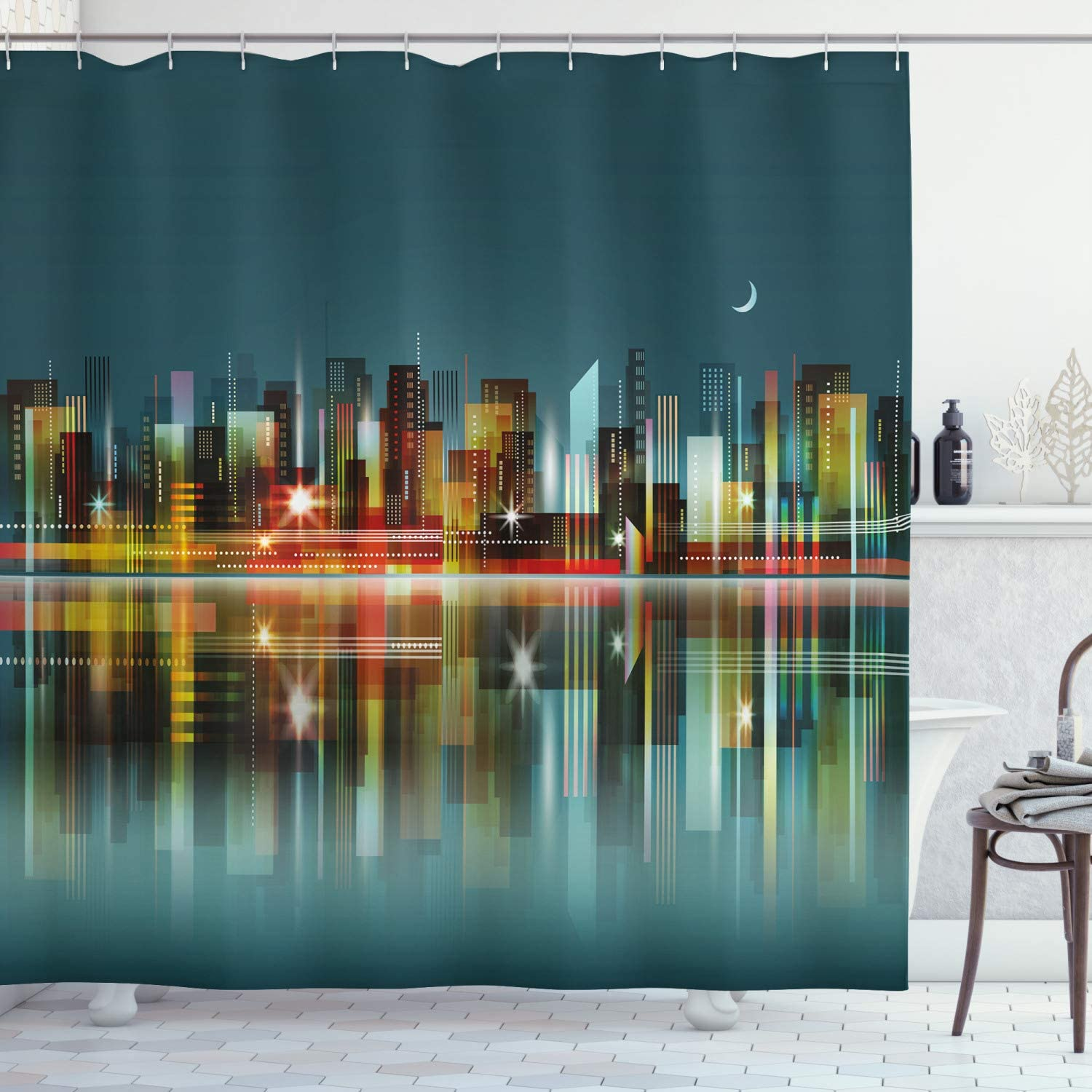 """Ambesonne Modern Shower Curtain, Illustration of a City Silhouette Skyline at Night Buildings Skyscrapers Urban View, Cloth Fabric Bathroom Decor Set with Hooks, 70"""" Long, Dark Cadet"""