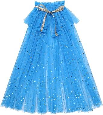 Alvivi Capa Princesa Azul/Blanco/Colores Lentejuelas para Niña ...