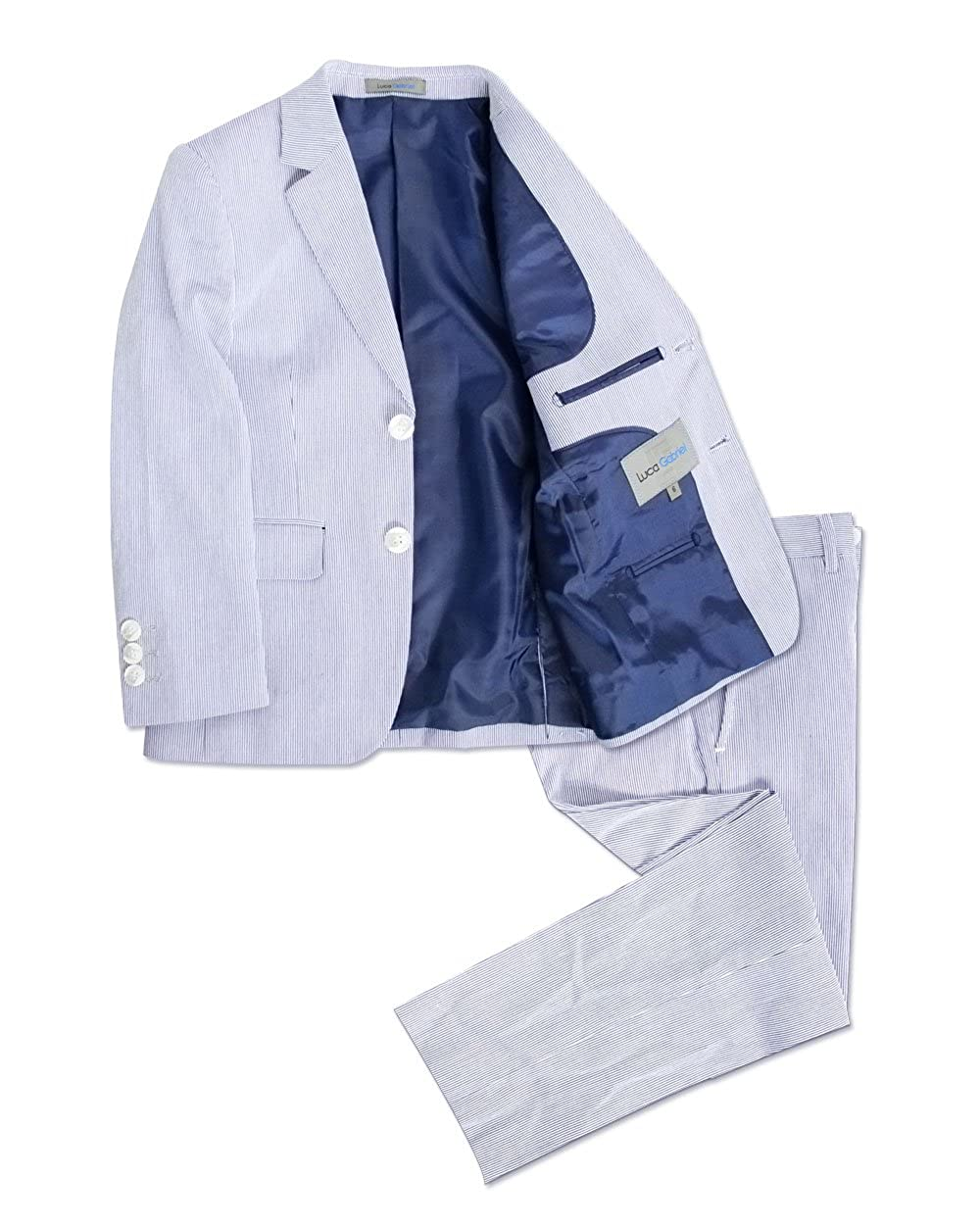 Luca Gabriel Toddler Boys' 2 Piece English Semi Formal Casual Grey Plaid Coat Blazer and Pant Set