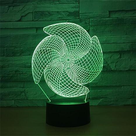 LT&NT Ventilador 3D ilusión óptica Visual de luz Nocturna, Toque Escritorio led Lámparas de Mesa