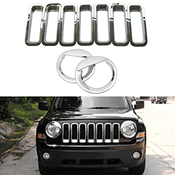 Angry Bird Style Headlight Lamp Cover Trim for Jeep Patriot 2011-2016 Silver Front Grill Mesh Insert + Angry Bird Headlight Cover-2 AVOMAR Front Grille Grill Mesh Grille Insert Kit