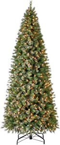 Home Heritage 10 Foot Mahogany Pine Cashmere Quick Set Prelit Artificial Christmas Tree with Clear White Lights and Metal Stand
