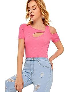 fb496892e8c4e0 SheIn Women's Cutout Short Sleeve Cold Shoulder Ribbed Knit T-Shirt Top