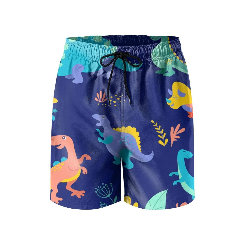 Trendy Men Beach Shorts Dinosaur Cartoon Waterproof Microfiber Short Beach Shorts