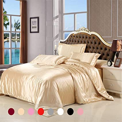 Silky Duvet Cover Set Queen Size 3 Piece With 1 Additional Flat Sheet Silk  Like Feeling