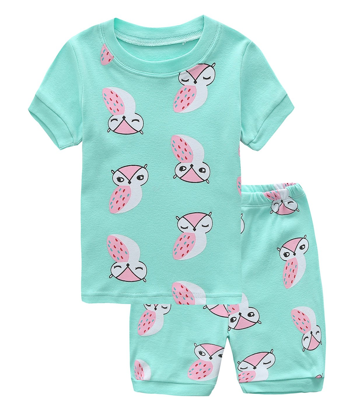 Fiream Girls Cotton Short Sleeves Pajamas Sets 2 Piece Cartoon Toddler Sleepwears(18015,3T/3-4YRS)