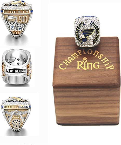 XiaKoMan 2019 NHL st Louis Championship Stanley Cup STL Blues Ring Size 8-14 Champions MVP oreilly with Deluxe Walnut Wooden Box Gifts for Men Kids Women Youth