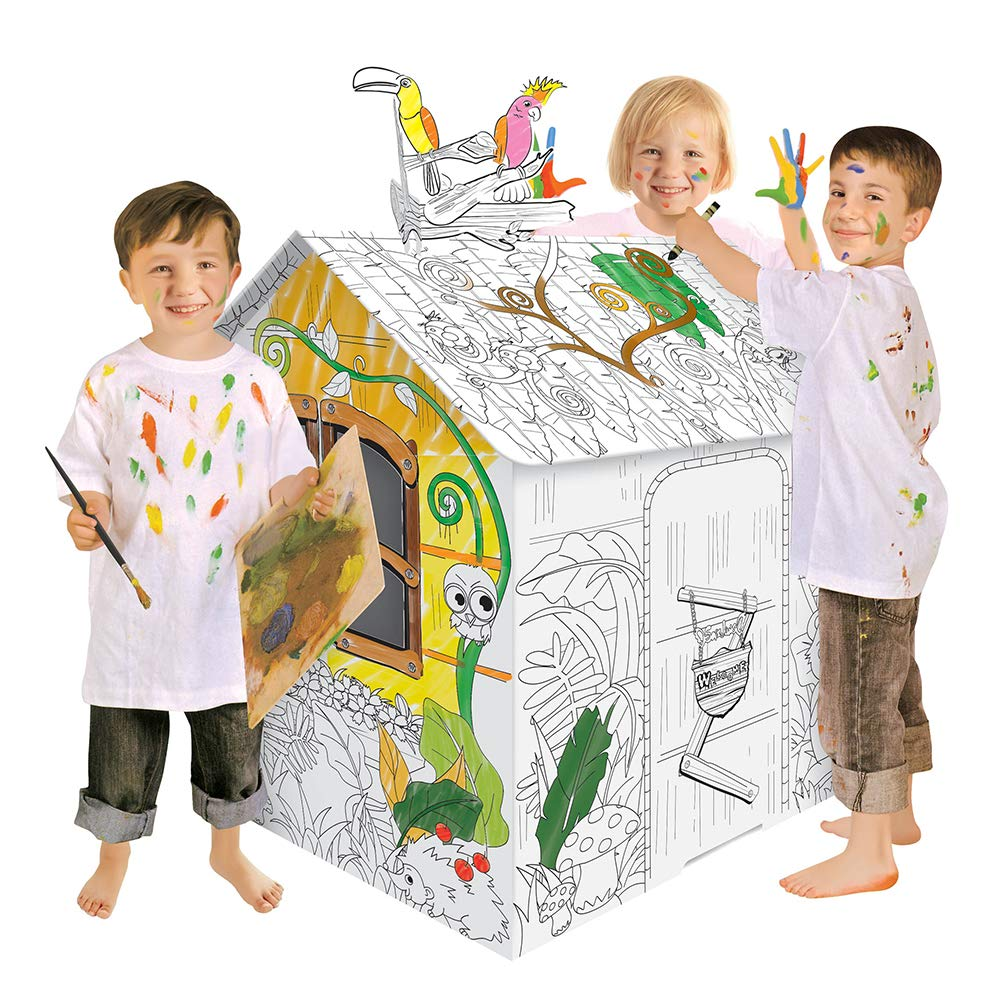 JOYOOC Cardboard Playhouse, Children DIY Color Playhouse Role Playing Game Cottage Playhouse Indoor Pretend Play Paper House with Included 12 Makers & Sturdy Construction, 42.9'' H x 31.1'' W x 24.8'' L