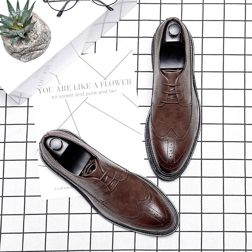 Hilotu Clearance Wedding Shoes for Mens PU Leather Brogue Shoes Classic Lace Up Breathable Square Texture Formal Business Lined Oxfords M US Color : Brown, Size : 8.5 D