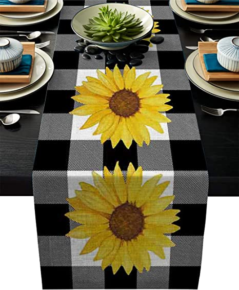 Set of 4 Vintage Style Country Jams and Sunflowers on Blue Checked Gingham Reversible Cloth Napkins