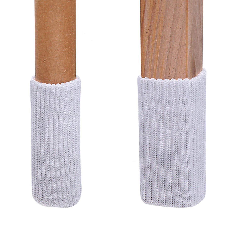 TEKEFT 16pcs White Color Knitting Wool Furniture Socks/Chair Leg Floor Protector (White Color) (16 White)