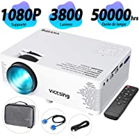 VicTsing Rétroprojecteur Full HD 1080p Supporté, Projecteur Portable 3800 Lux, Objectif à Faible Dispersion, 2019 Version Compatible avec TV, PC, HDMI/VGA/SD/AV/USB