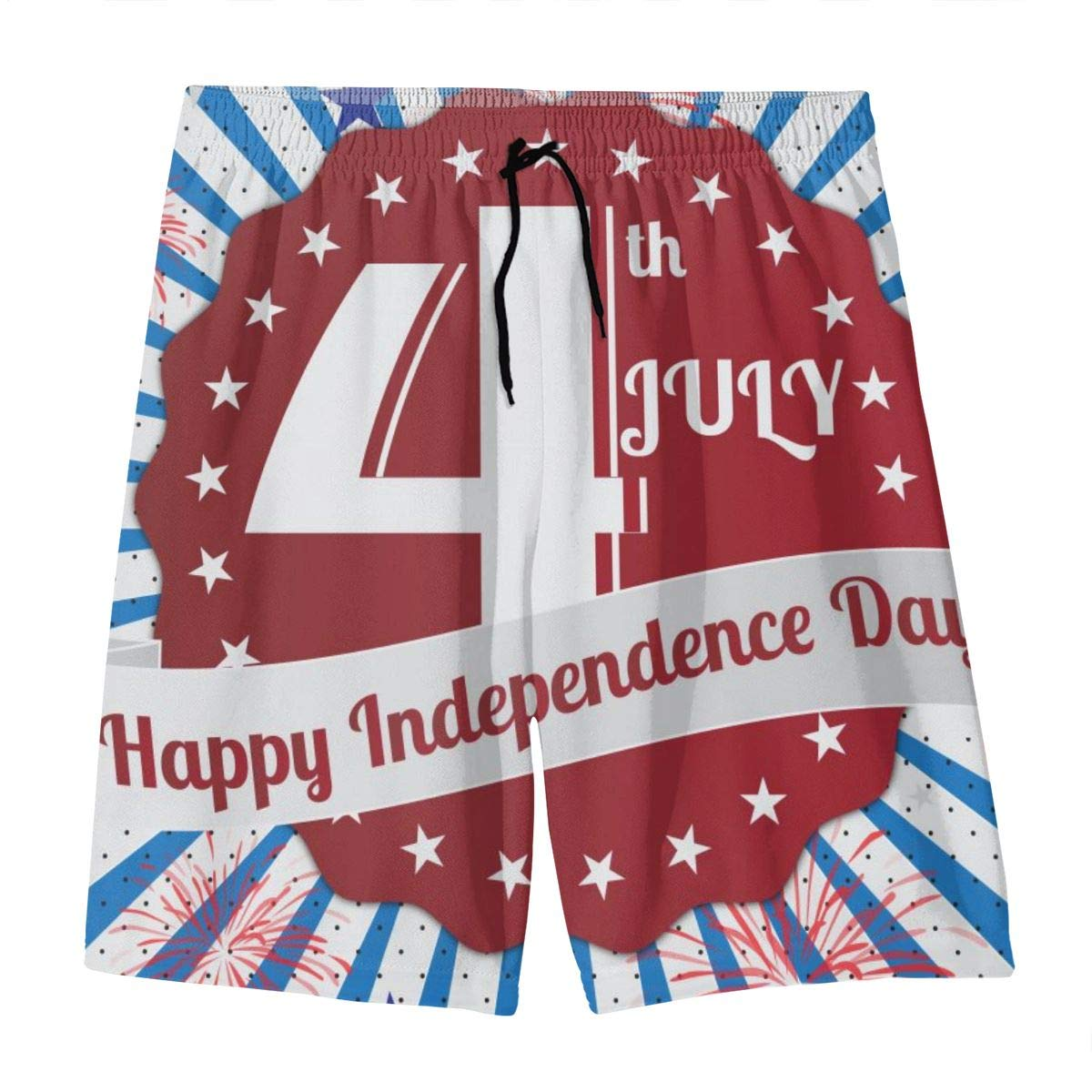 4th July Happy Independence Day Teen Swim Trunks Bathing Suit Shorts Board Beach