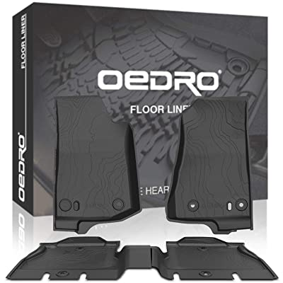 OEDRO Floor Mats Compatible for 2020-2020 Jeep Wrangler JL JLU 4-Door, Black TPE All Weather Guard, 1st & 2nd Row Custom Fit Full Set Liners: Automotive