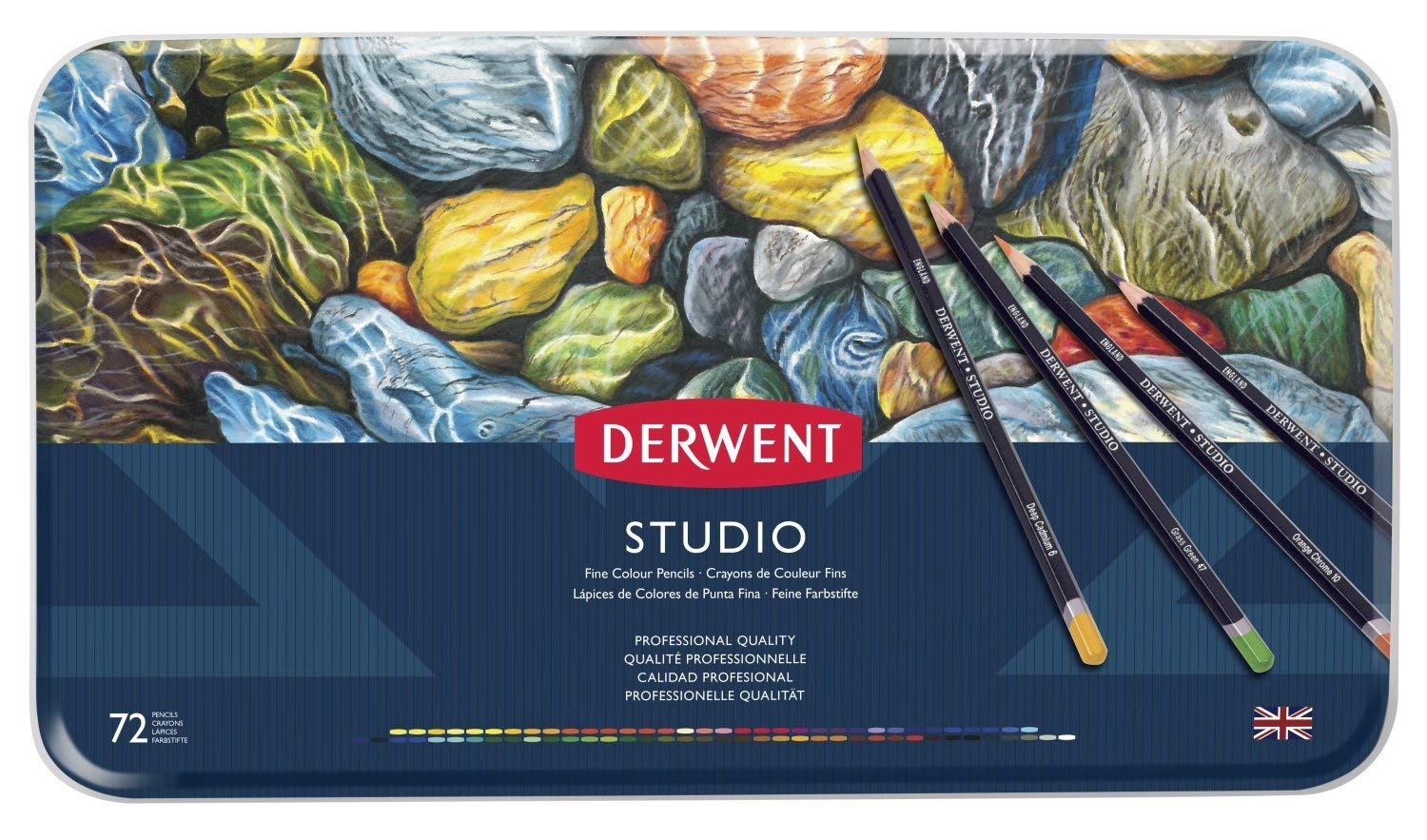 Derwent Studio Colored Pencils, 3.4mm Core, Metal Tin, 72 Count (32201) by Derwent