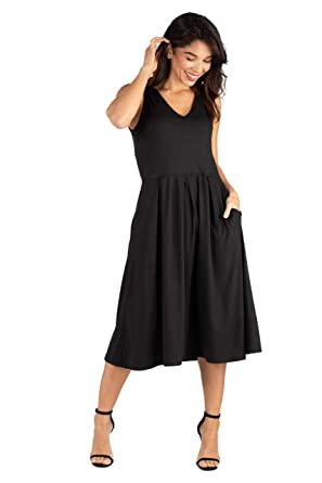 5fb3e7498643 24seven Comfort Apparel Sleeveless Midi Fit and Flare Pocket Dress- Made in  USA - (