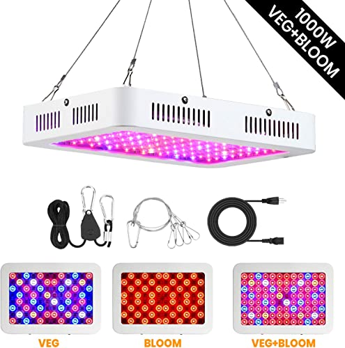 Beloman 1000W LED Grow Light Full Spectrum Dual Switch and Dual Chips Growing Light for Indoor Hydroponics Greenhouse Plants Veg and Flower with Daisy Chain Adjustable Rope