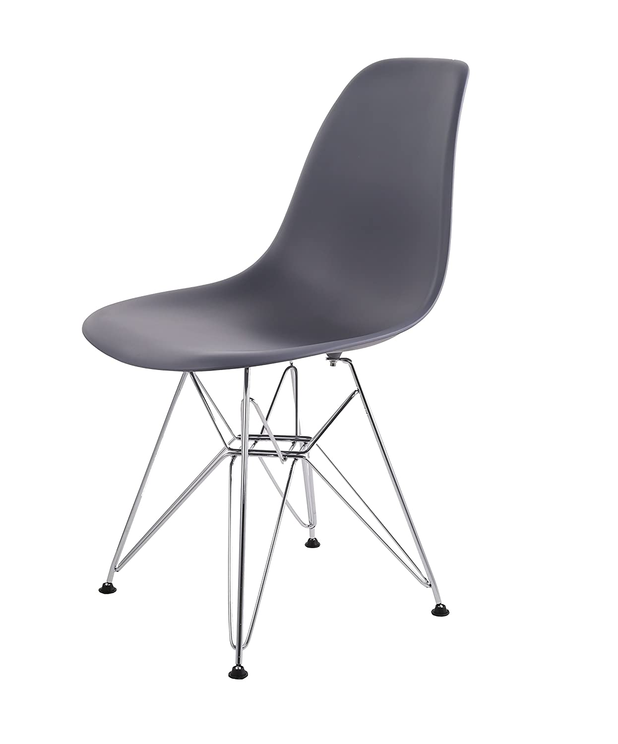 HNNHOME Eames Inspired Eiffel DSR Dining Plastic Chairs Modern Lounge Office Furniture Panton (Steel Grey)