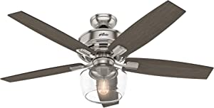 Hunter Indoor Ceiling Fan with light and remote control - Bennett 52 inch, Brushed Nickel, 54188