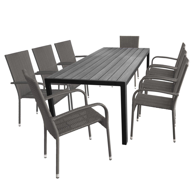 Gartengarnitur Sitzgruppe Terrassenmöbel Gartenmöbel Set U2013 Aluminium  Gartentisch, Polywood Tischplatte, 205x90cm + 8x Gartenstuhl,  Polyrattanbespannung, ...