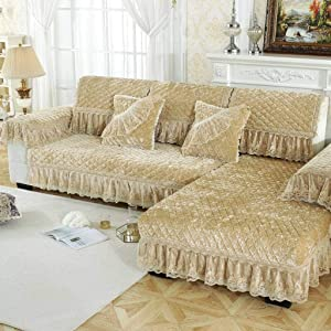 KXGL L Shape Sofa Cover, Relaxed Couch Sofa Cover Jacquard Sofa Slipcove Quilted Sofa Protector Printed for Sectional Sofa Corner Couch Furniture Protector-A-80x240+20cm