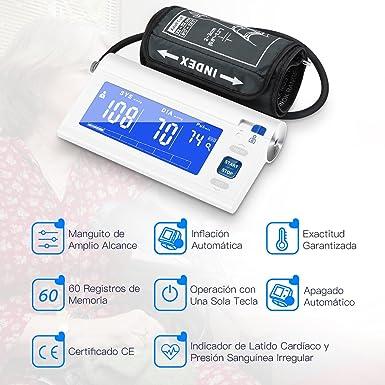 Mpow Tensiómetro de Brazo Eléctrico, Monitor de Presión Arterial de Pulso, 120 Memorias para 2 Usuarios, Grande Pantalla Digital y Automática, ...