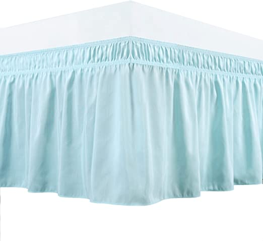 Elastic Dust Ruffle Guken Wrap Around Bed Skirt 15 Inch Drop Beige,Twin Easy On and Easy Off Easy Fit Wrinkle and Fade Resistant Luxurious Silky Fabric Solid