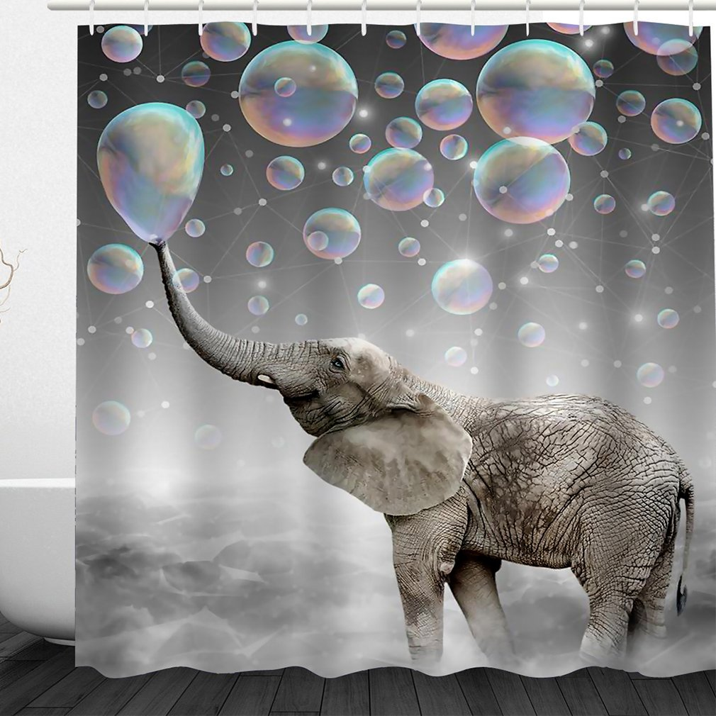 Jenave Home Decor Elephant Spit Bubbles Fabric Bathroom Shower Curtain Set with Hooks, 72W x 72H Inches¡­