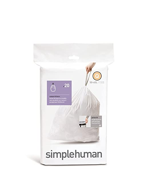 simplehuman Code Q Custom Fit Trash Can Liner, 1 refill pack (20 liners), 50 -65 L / 13-17 Gal