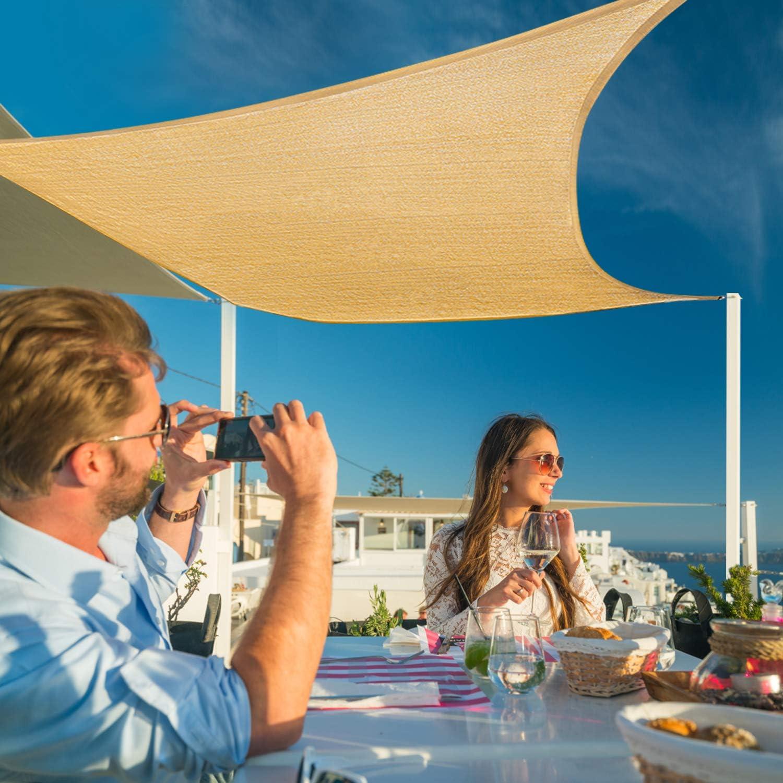 Sunkorto Tenda a Vela Parasole Rettangolare Tenda da Sole per Esterno Resistente Protezione UV 97/% Corda in PE per Giardino Cortile Balcone