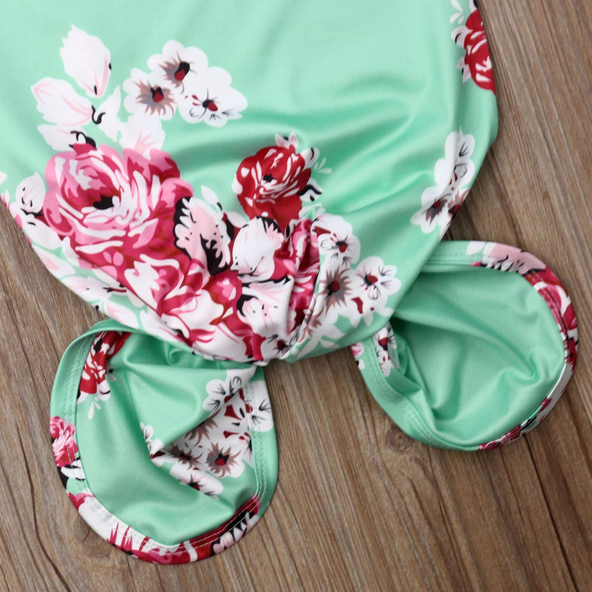 Newborn Baby Girls Sleepy Floral Print Mermaid Tail Gown Headband Outfit Kids Sleepwear Romper Sleeping Bags