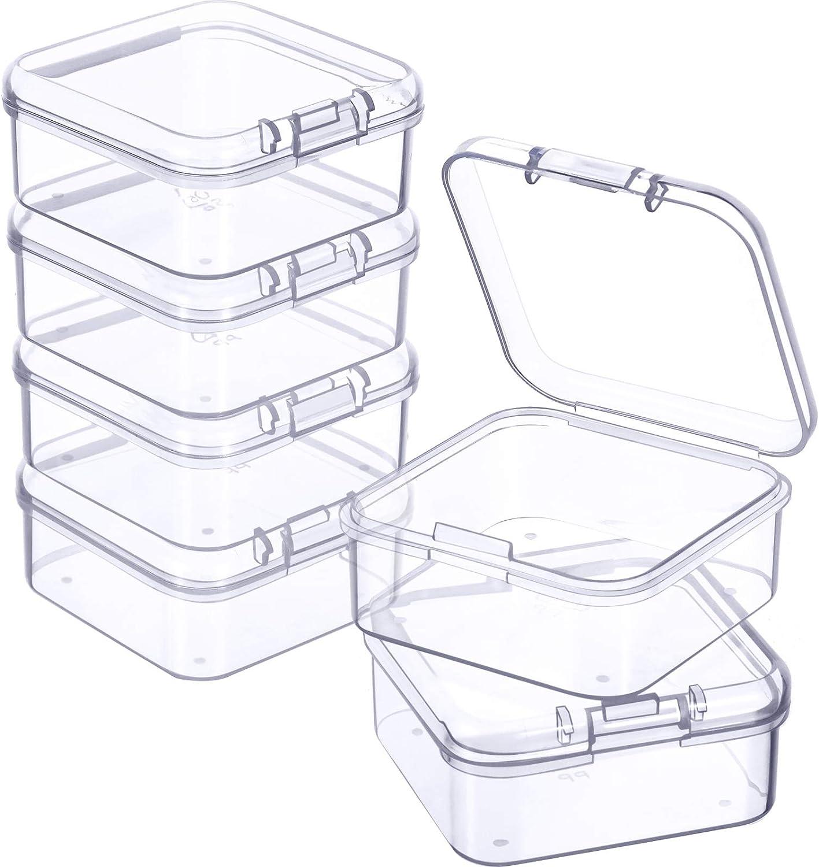 6 Cajas de Almacenamiento de Cuentas Contenedores de Plástico Transparente Pequeños con Tapa Abatible de Recolección Artículos Pequeños, Joyerías (1,7 x 1,7 x 0,79 Pulgadas)