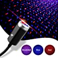 USB Star Night Light, 3 Colors - 7 Lighting Effects, Aevdor Auto Roof Star Lights, Portable Romantic Light for Bedroom, Car, Party, Ceiling and More- Plug and Play (Blue & Red)