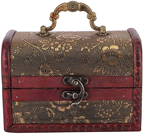 Antique Vintage Style boîte à bijoux en bois boucle d/'oreille collier