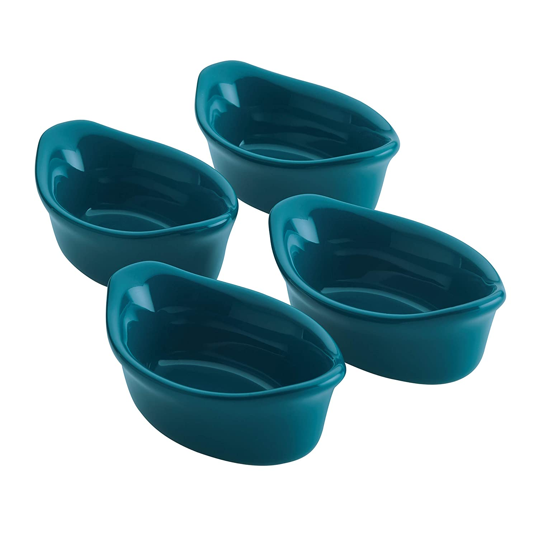Dipping Cups Burgundy Rachael Ray 47865 4-Piece Set Stoneware Ramekins