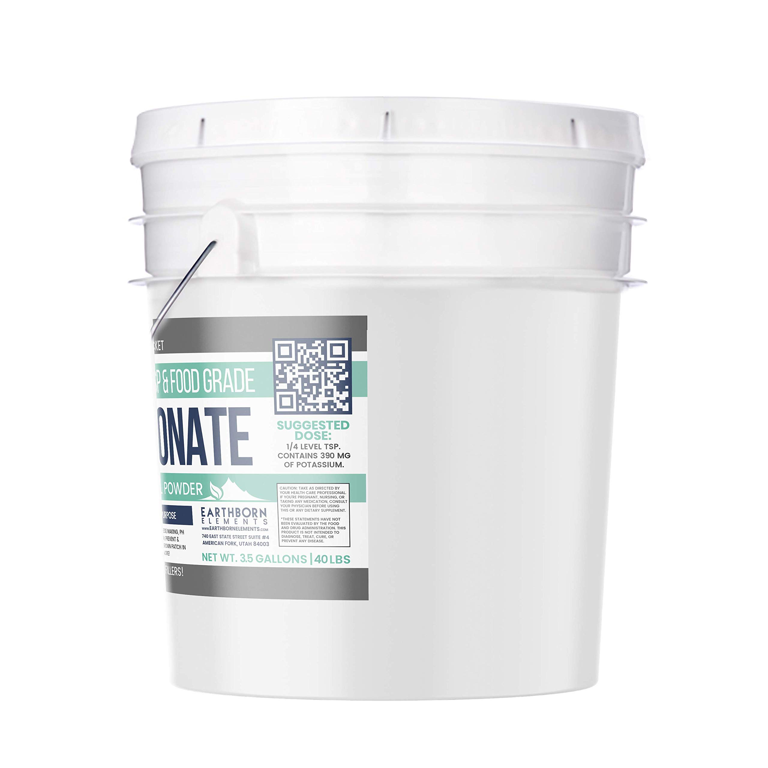 Potassium Bicarbonate (3.5 Gallon, 40 lbs.) by Earthborn Elements, Resealable Bucket, Highest Purity, Food and USP Pharmaceutical Grade by Earthborn Elements (Image #2)
