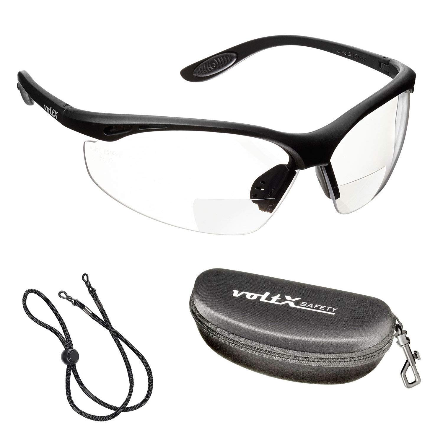 +3.5 Dioptre, Clear Includes Safety Cord with headstop Wraparound Style 3 x voltX CONSTRUCTOR BIFOCAL Reading Safety Glasses CE EN166f certified//Cycling Sports Glasses