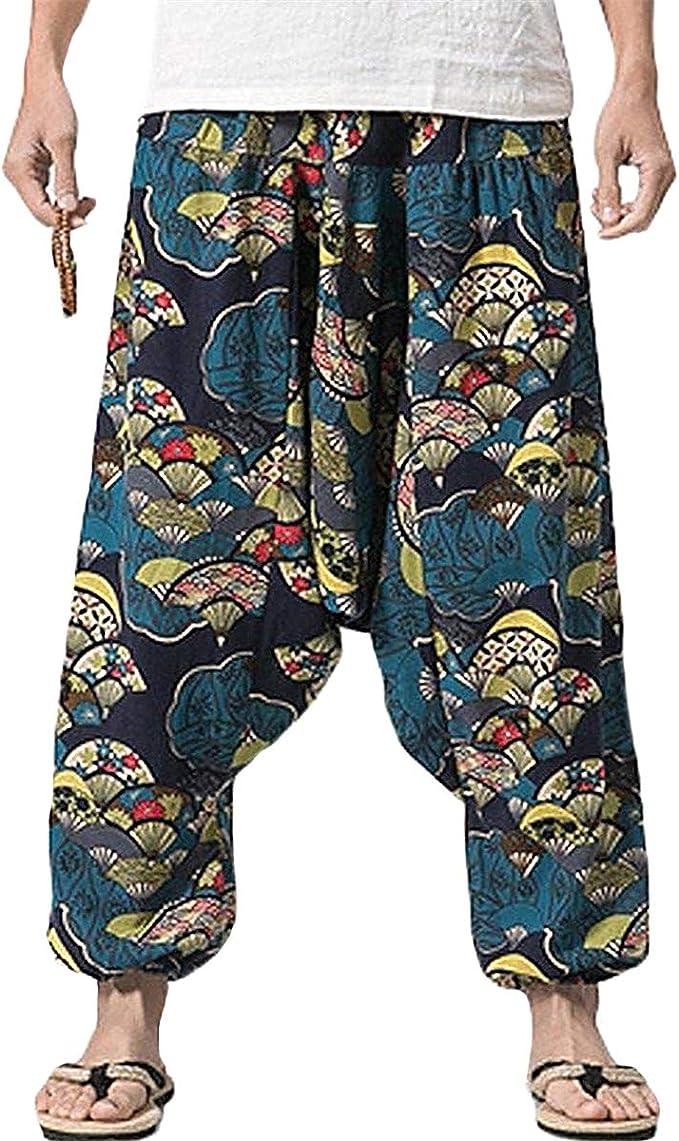 Men's Vintage Pants, Trousers, Jeans, Overalls PERDONTOO Men Women Cotton Harem Yoga Baggy Genie Boho Pants $27.99 AT vintagedancer.com