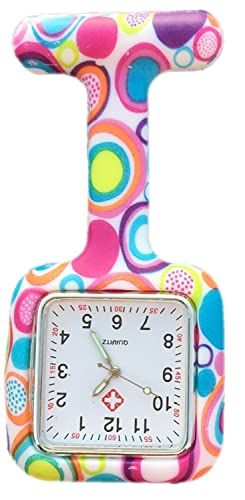Boolavard® TM Nurses Fashion Coloured Patterned Silicon Rubber Fob Watches - SQUARE Colourful Bubbles